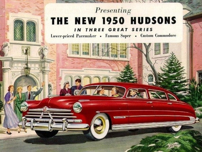 Image showing a vintage advertisement for the 1950 Hudson automobile.