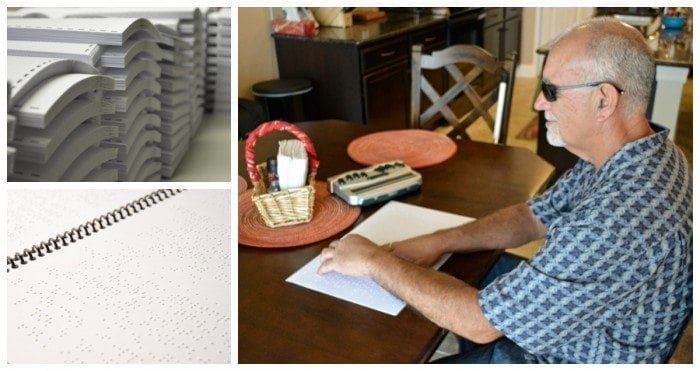 Collage image showing one large photo of a man sitting at his kitchen table reading a braille document and two small photos of braille materials.
