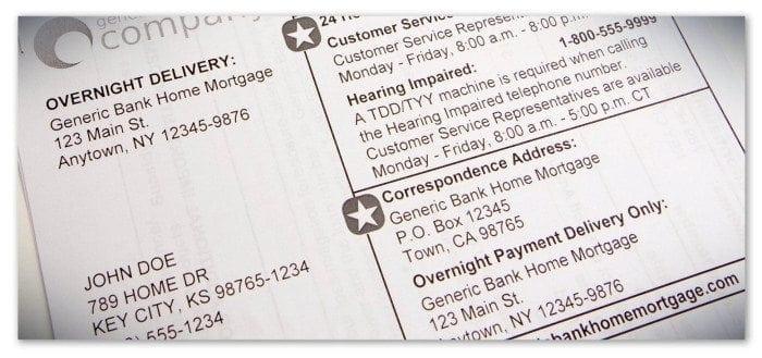 Sample Large Print Mortgage Statement.
