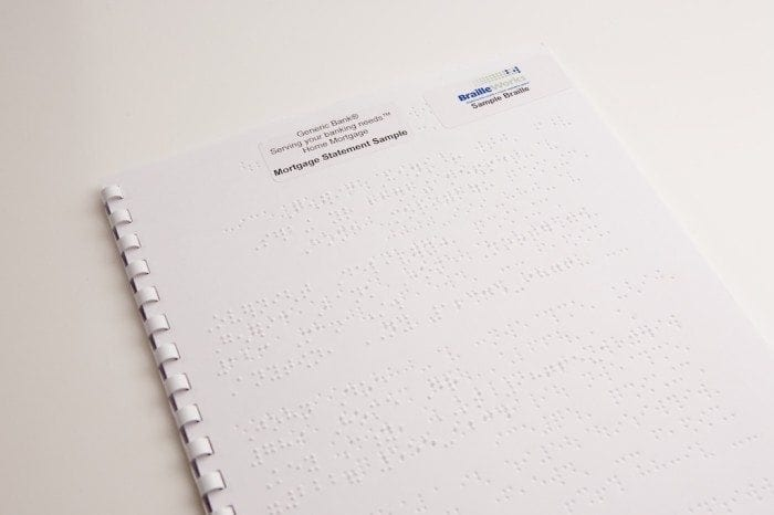 sample braille mortgage statement with GBC comb binding by Braille Works