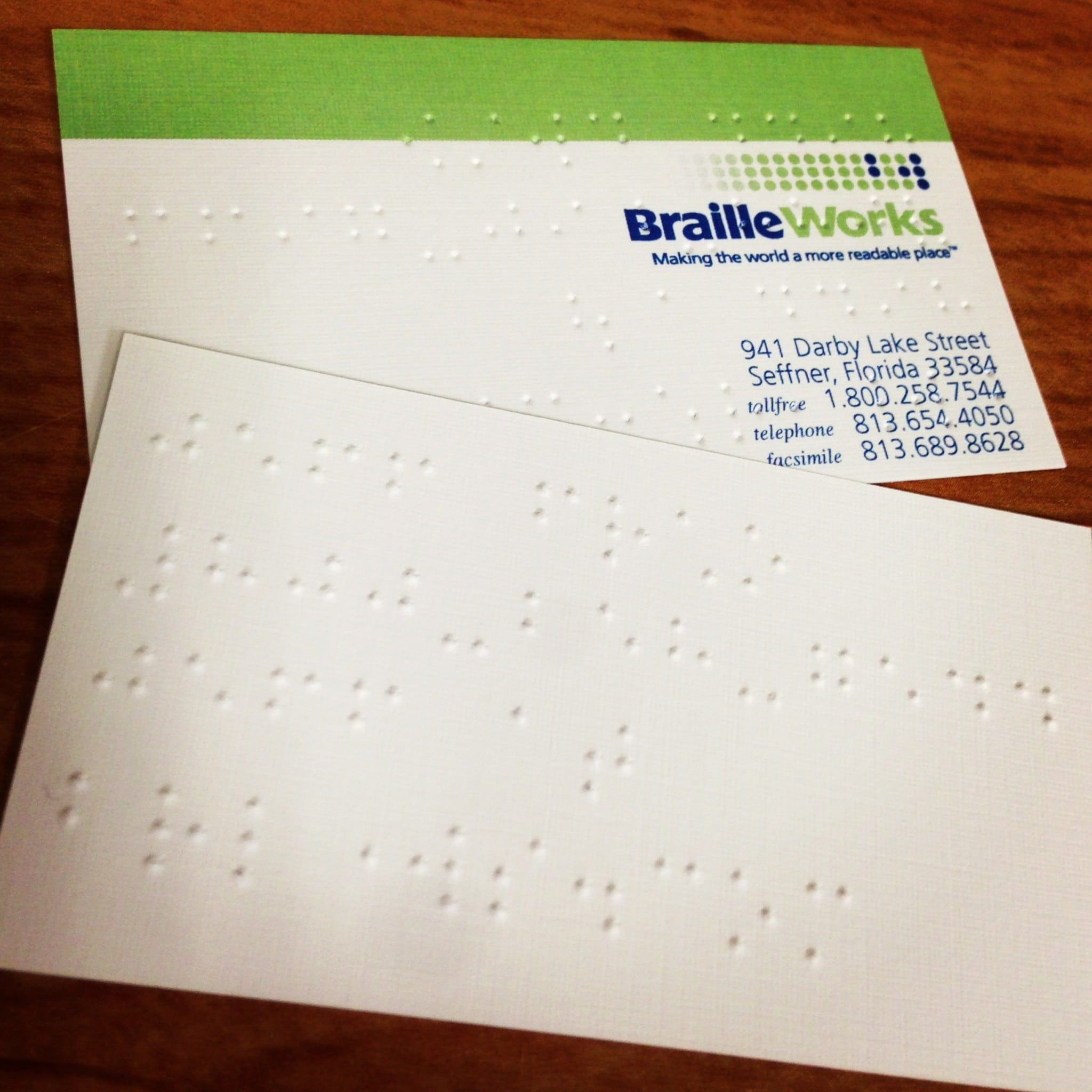 everyday accessibility eone s braille business cards crystal