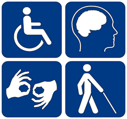 Image showing universally recognized symbols for Wheelchair, Congnitive, Deaf and Blind