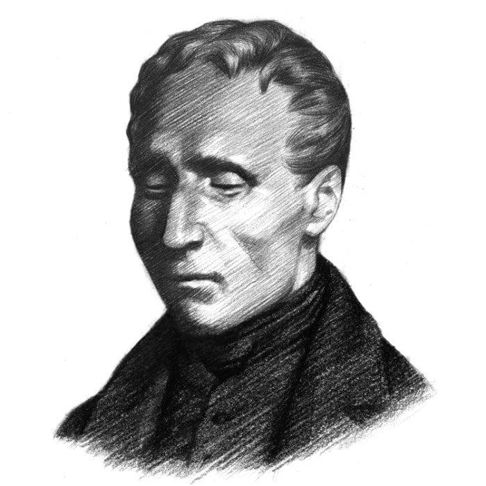 An artist's sketch of Louis Braille