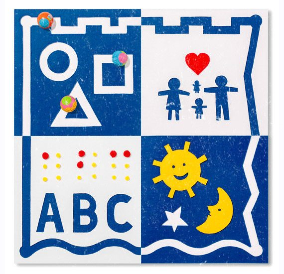 Artistic image for children that includes braille and print ABC's, shapes and more.