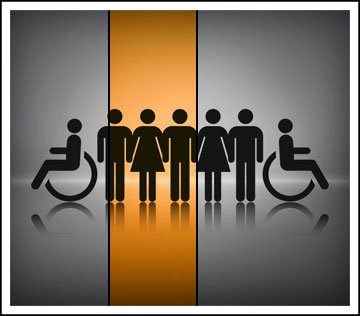 Stylized image showing graphical men and women holding hands with a person in a wheelchair at both ends