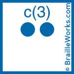 Image showing the Braille character for the letter C and the number 3. Created and owned by Braille Works