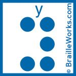 Image showing the Braille character for the letter Y. Created and owned by Braille Works