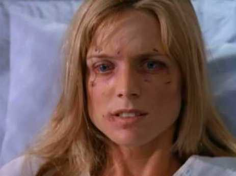 "Alison in a hospital bed during a Melrose Place episode called ""Postmortem Madness"""