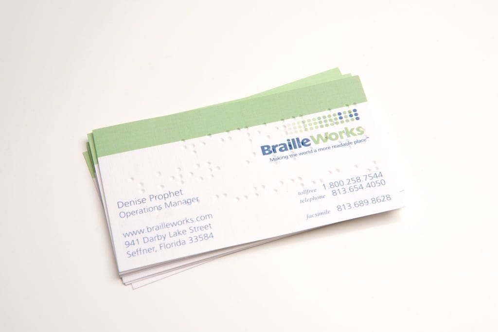 Professional braille business cards braille works image showing the front of sample braille business cards by braille works reheart Images
