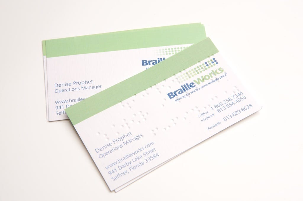 Professional braille business cards braille works image showing a stack of sample braille business cards by braille works reheart Images