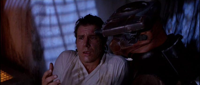 Han Solo in shock when he realizes he's been blinded by Hibernation Sickness