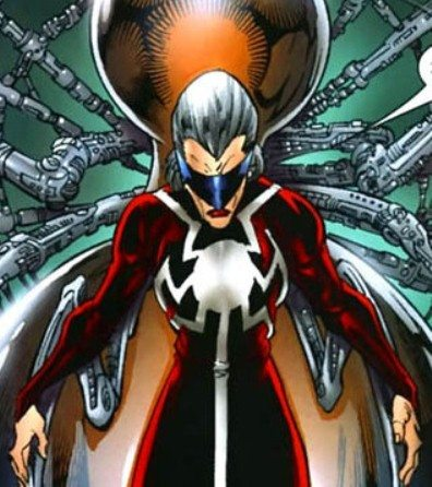 Madame Web from Marvel Comics connected to her life support system