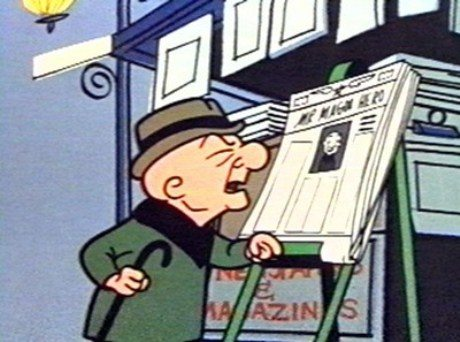 Mr. Magoo trying to read a newspaper