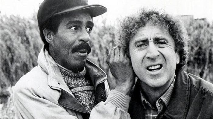Black and white image of Richard Prior and Gene Wilder from See No Evil, Hear No Evil