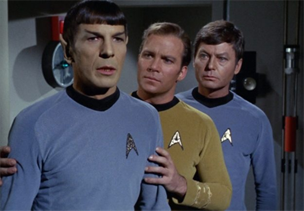 "Spock, Captain Kirk and Dr. McCoy during the Star Trek episode ""Operation Annihilate"""