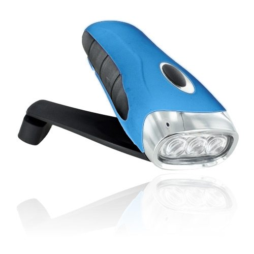Blue and black colored wind-up flashlight