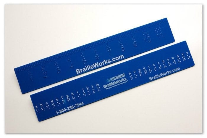 Image of two Braille Works braille rulers (front and back)