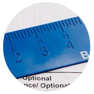 Close-up image of a Braille Works braille ruler