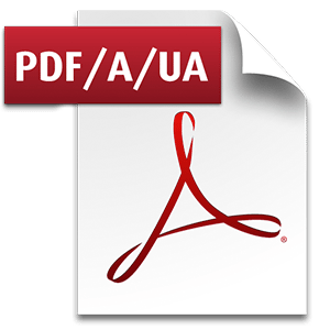 "Image of the Adobe PDF logo with an ""A"" added to represent ""Accessibility"" and a ""UA"" for ""Universal Accessibility""."
