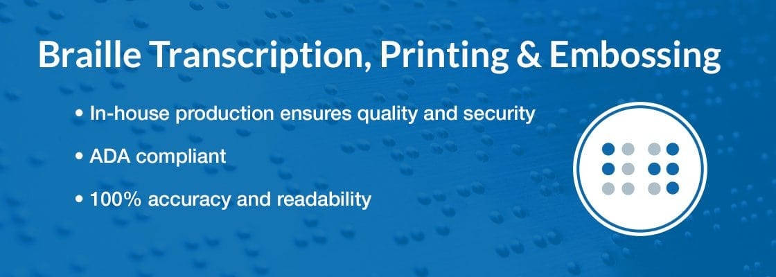Braille Transcription, Printing and Embossing