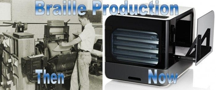 """Image showing a side-by-side view of a Braille Press and a Braille Embosser with the words """"Braille Production - Then and Now"""" displayed."""