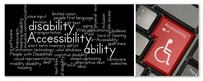 "Image showing a word-cloud filled with accessibility-related words and a red keyboard key with the word ""accessibility"" on it."