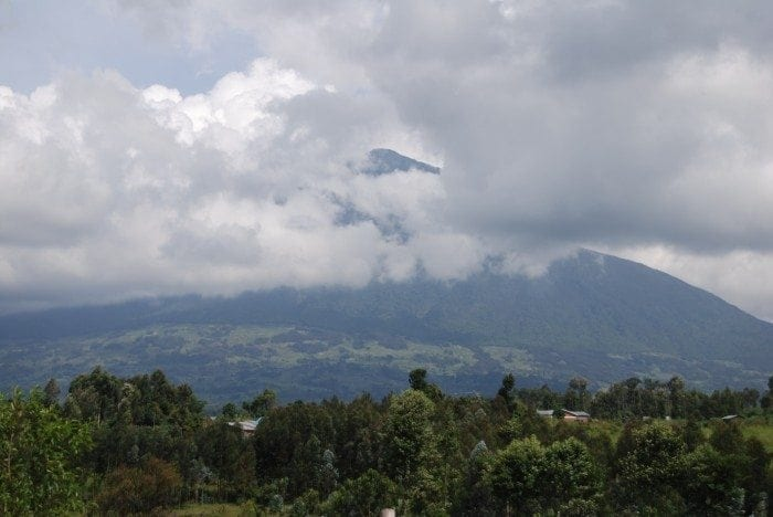 Image taken from Rwandan camp site showing the massive Mahabura Volcano in the distance.