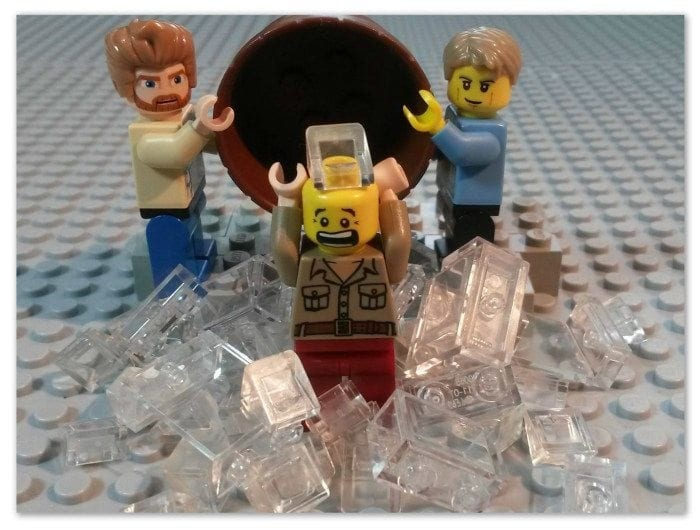 Image showing three LEGO figures set up to look like they are doing an ALS Ice Bucket Challenge