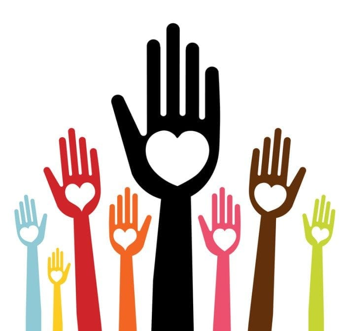 Graphical image of hands being raised into the air. Each hand has a heart-shape on it to represent charitable giving.