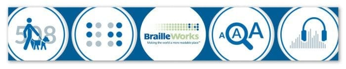 The Braille Works logo and four icons representing Braille, large print, audio and 508-compliant accessible electronic documents.