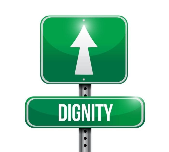 "Image showing a green street sign with the word ""dignity"" displayed and an arrow pointing forward."