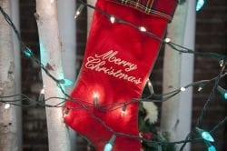 Image showing a red Christmas stocking hanging from a tree with christmas lights shining around it.