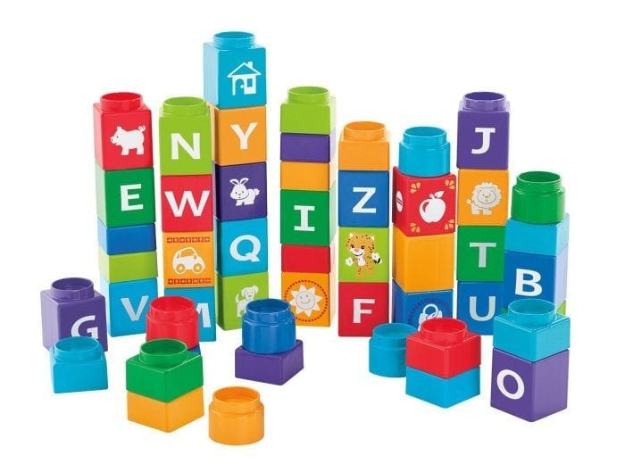 Image of Shakira First Steps Collection Stack 'n Learn Alphabet Blocks. Several stacks of blocks are shown.