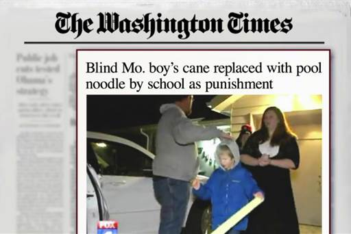 """Image of Washington Times newspaper headline reading """"Blind Mo. boy's cane replaced with pool noodle by school as punishment."""""""