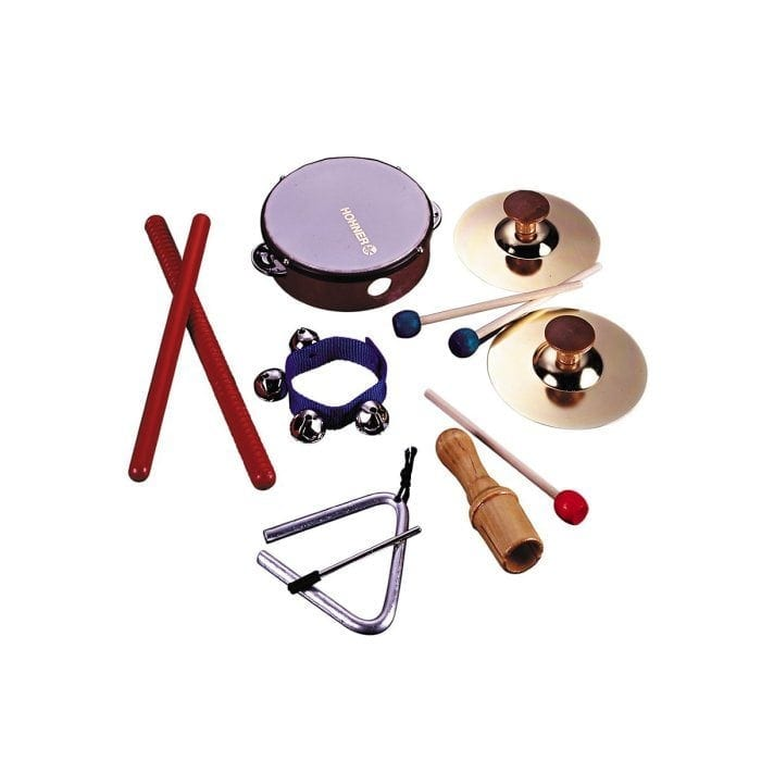 Image of the Hohner Kids Six Piece Rhythm Instrument Set including a tambourine, rhythm sticks, wrist bells, wood sounder and triangle with striker.