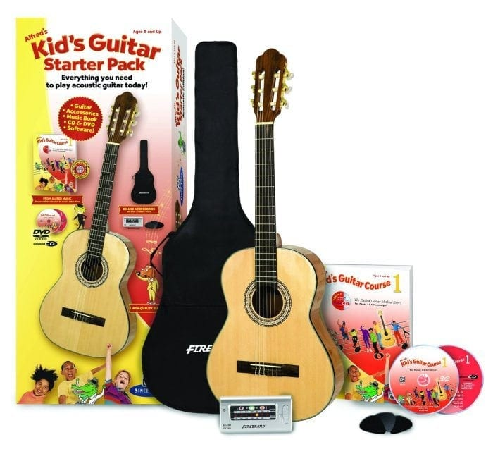 Image showing the Alfred's Kids Guitar Starter Pack which includes a guitar, tuner, course materials and guitar picks