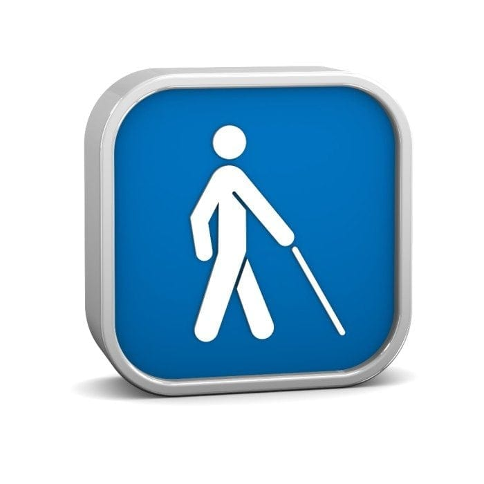 Blue icon image showing a stick figure carrying a white cane.