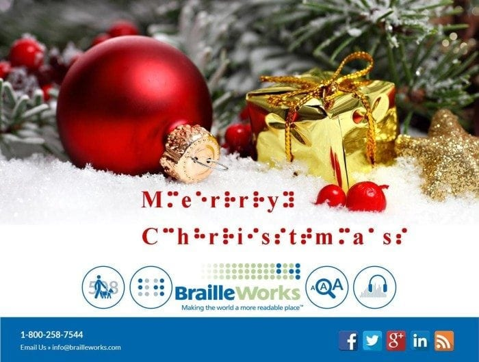 christmas themed image with the words merry christmas displayed in print and braille characters