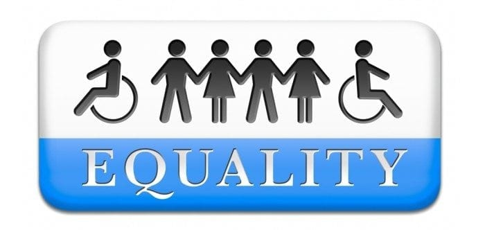 "Graphical image showing several stick-figures holding hands with the word ""Equality"" displayed. Two of the stick-figures are in wheelchairs."