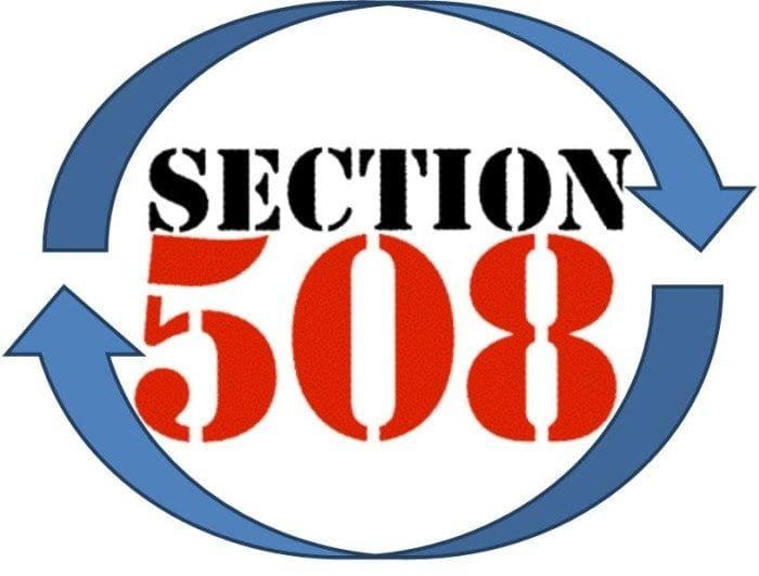 """Image displaying the words """"Section 508"""" with a blue arrow above and below meant to represent a refresh."""