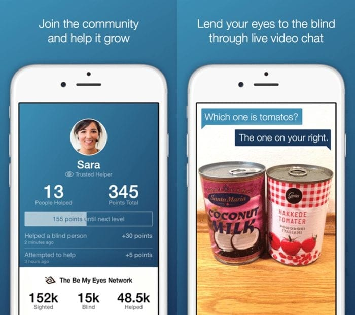 Image of a Be My Eyes screenshot showing a user profile on the left and two cans on the right. One is a can of coconut milk and the other is tomatoes.