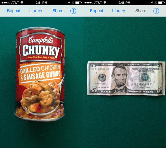 Image of a TapTapSee screenshot showing a can of soup and a five dollar bill.