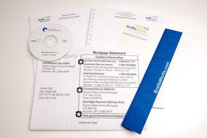 Sample bank statements in braille, large print and audio formats.