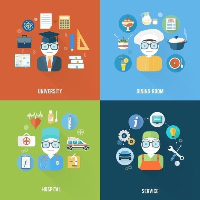 Collage image showing icons related to the service, university, healthcare and restaurant industries.