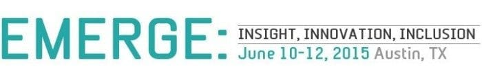Image of the Emerge 2015 logo, displaying the words Emerge: Insight, Innovation, Inclusion.