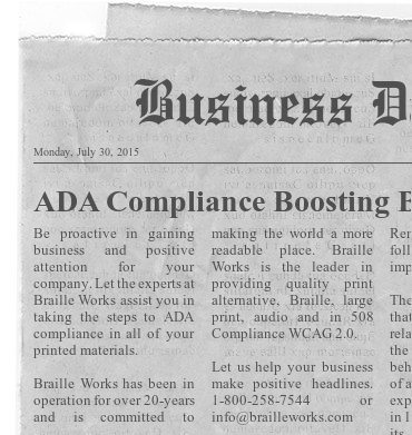 """Image showing a mock business newspaper with a positive approach and headline reading """"ADA Compliance Boosting Business""""."""