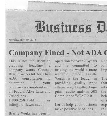 """Image showing a mock business newspaper with a headline reading """"Company Fined - Not ADA Compliant""""."""
