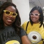 Two Braille Works employees dressed as Minions for Halloween
