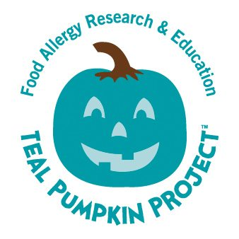 "Graphical image showing a teal-colored pumpkin with the words ""Food Allergy Research and Educations Teal Pumpkin Project"" displayed."