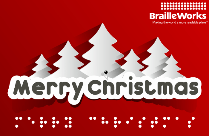 Merry Christmas displayed in print and Braille with white Christmas trees in the background.